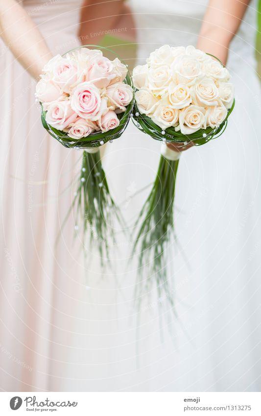 Rosen feminin Junge Frau Jugendliche 2 Mensch Pflanze Blume hell rosa weiß Braut Blumenstrauß Hochzeit Farbfoto Außenaufnahme Detailaufnahme Tag