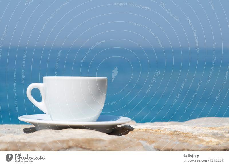 Erstmal nen kaffee Getränk Kaffee Espresso Geschirr Teller Tasse Lifestyle Stil Glück Ferien & Urlaub & Reisen Freiheit Natur Klima Schönes Wetter Wellen Küste