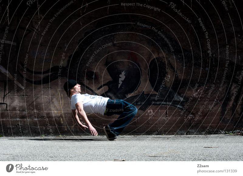 WOW! Mensch Mann Stadt Tier dunkel Wand Graffiti Stil braun gehen Zufriedenheit Beton Coolness T-Shirt Gemälde Mütze