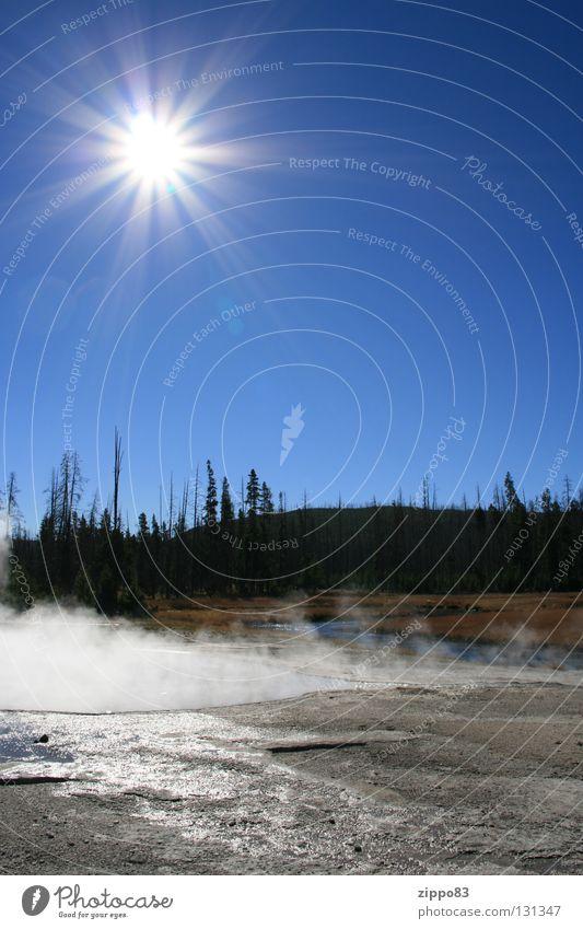 Sonne mit Wald Mittag Herbst Nebel Physik Wasser (heiß) blauer Himmel USA Yellowstone Nationalpark Wärme
