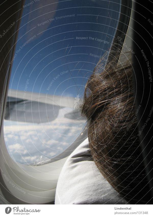 Flug vergeht im Schlaf Flugzeug schlafen Kissen Fenster Luke Bullauge Triebwerke Luftverkehr airplane sleep Flügel Kopfkissen