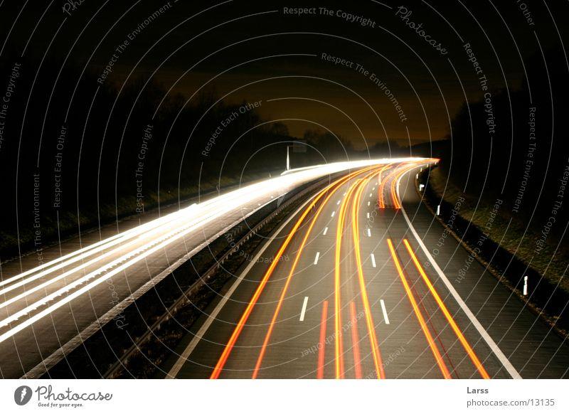sauerlandlinie bei nacht 2 Autobahn Nacht Langzeitbelichtung Licht Geschwindigkeit Verkehr