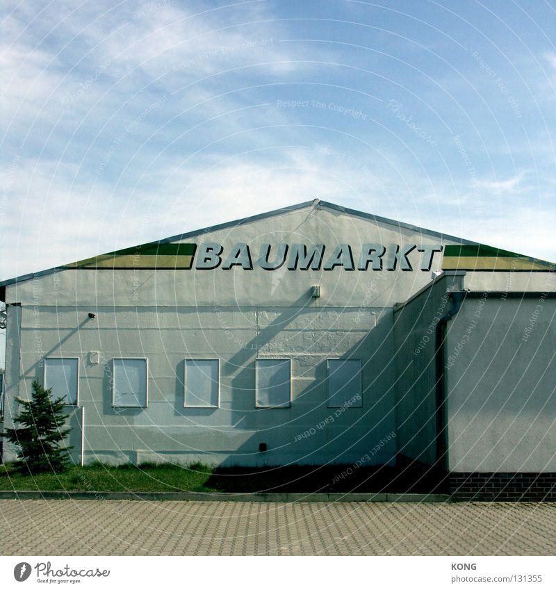 packen wir's an Himmel Wolken Haus Arbeit & Erwerbstätigkeit Wand Fassade Industrie Baustelle Handwerk Material Werkzeug Markt Handwerker Gewerbe Dachgiebel