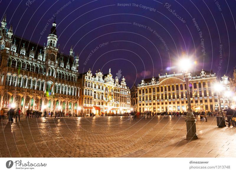 Brüssel bei Nacht schön Ferien & Urlaub & Reisen Tourismus Himmel Kleinstadt Stadt Platz Rathaus Gebäude Architektur Denkmal alt historisch Zentrum urban