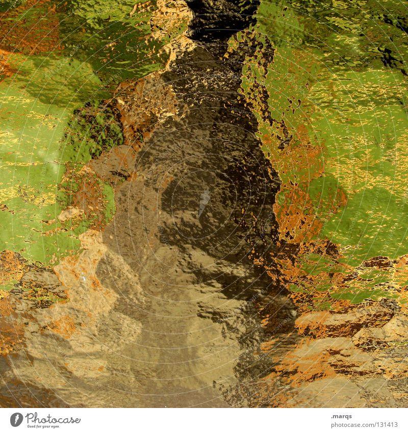 Tarnfarben grün Farbe Landschaft braun orange Glas Hintergrundbild obskur gebrochen Fensterscheibe mehrfarbig durcheinander Oberfläche Verlauf Verzerrung