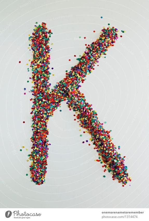 K wie: Müsli Kunst ästhetisch Buchstaben Typographie viele Konfetti Design Designwerkstatt Designmuseum gestalten Punkt mehrfarbig Farbfoto Innenaufnahme