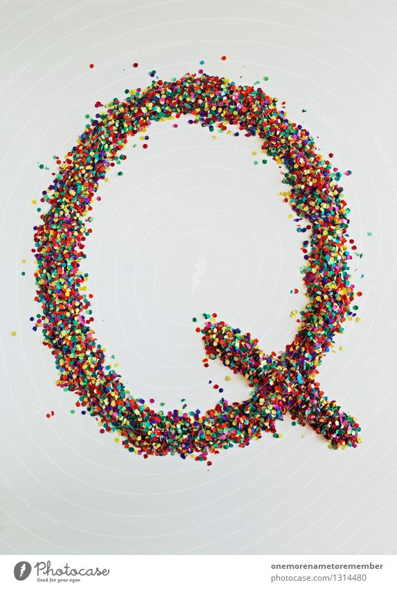 Q wie: Quantenphysik Kunst Kunstwerk ästhetisch Buchstaben Typographie Kreativität Design Designwerkstatt Designmuseum Konfetti viele mehrfarbig Fröhlichkeit