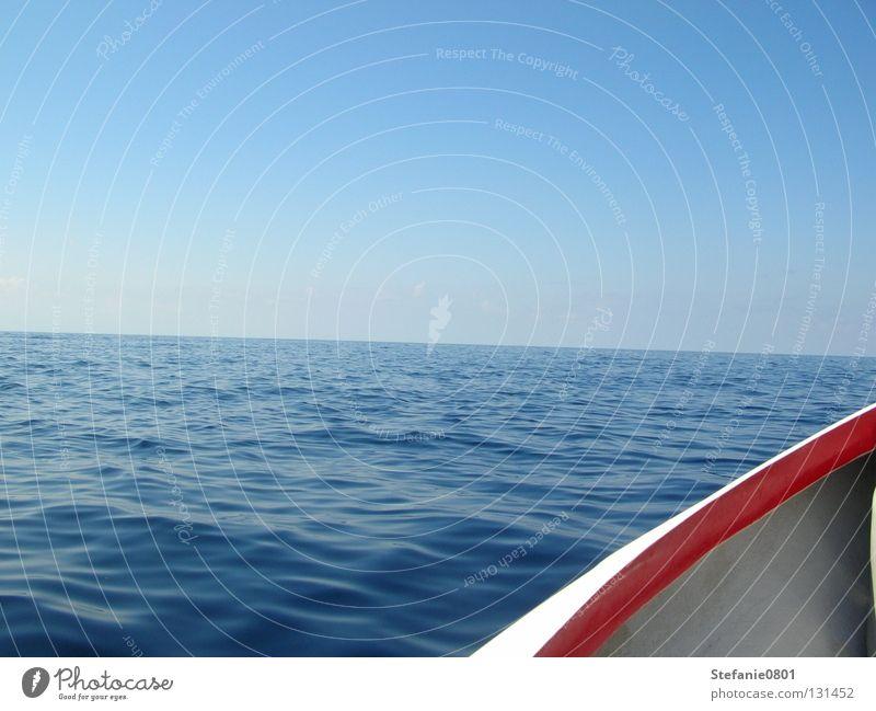 Horizont Wasser Meer Sommer Ferien & Urlaub & Reisen Ferne Freiheit Wasserfahrzeug Unendlichkeit