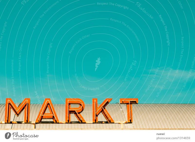 |Markt blau Sommer Gesunde Ernährung Metall orange Schilder & Markierungen Schriftzeichen Ernährung kaufen Schönes Wetter Zeichen Landwirtschaft Wolkenloser Himmel Wirtschaft Dienstleistungsgewerbe Handel
