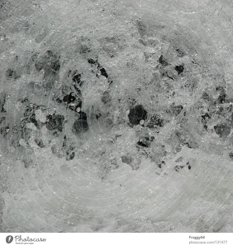 Splash Wasser weiß schwarz kalt Berge u. Gebirge Stein Felsen Fluss blasen Bach Luftblase Schaum Wildbach Wildwasser