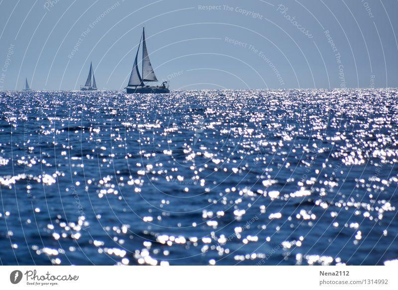 Hinterm Horizont geht's weiter Himmel Natur blau Sommer Wasser Meer Einsamkeit Landschaft ruhig Freude Ferne Umwelt Glück Freiheit Luft