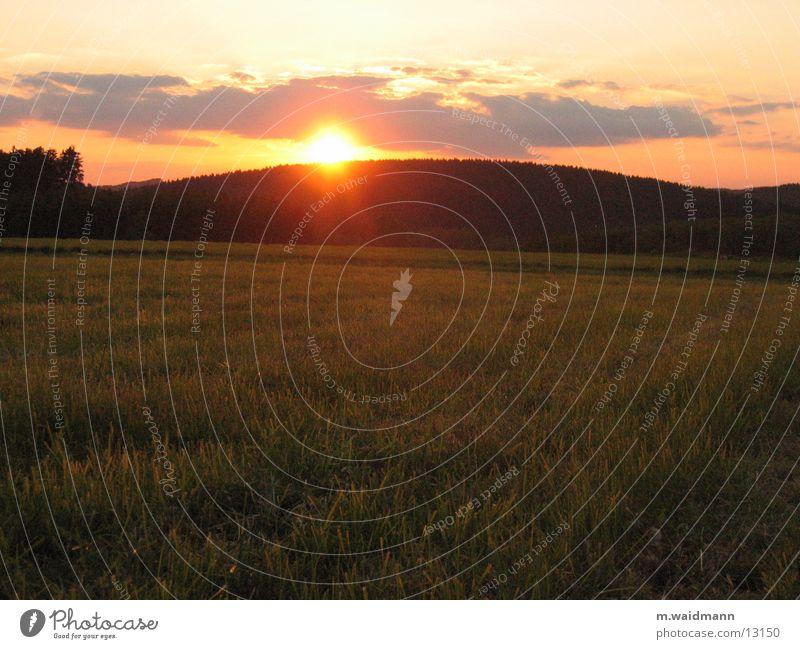 so schön ist deutschland Sonne Wolken Wiese Gras Berge u. Gebirge Feld Abenddämmerung