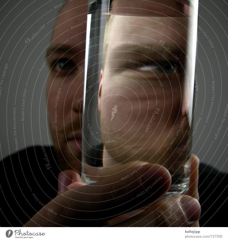 doppelleben Mann Mensch Alkoholsucht Lifestyle Bart Gesicht Comic Alkoholisiert Behälter u. Gefäße Wasser Lippen Spirituosen Getränk Schielen Lichtbrechung