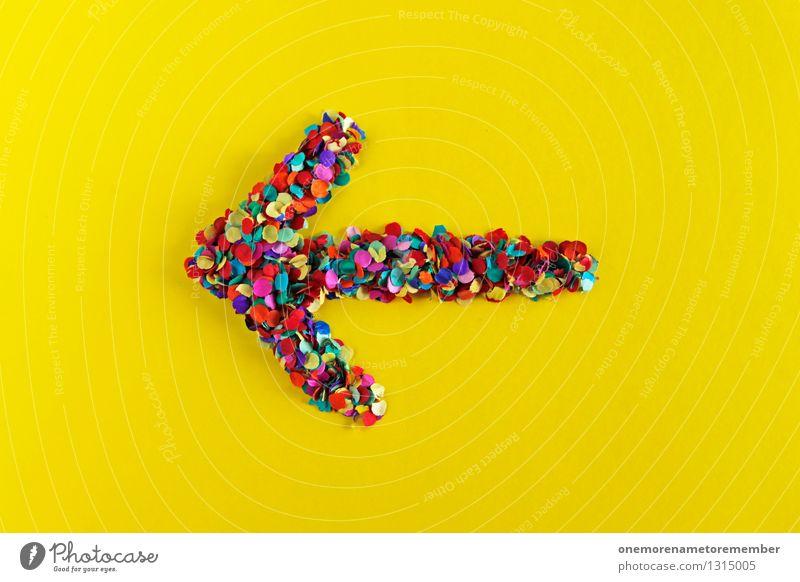 ...einfach da vorne rechts abbiegen Kunst Kunstwerk ästhetisch Pfeil Hinweis Richtung richtungweisend Richtungswechsel gelb knallig Konfetti Kreativität Design