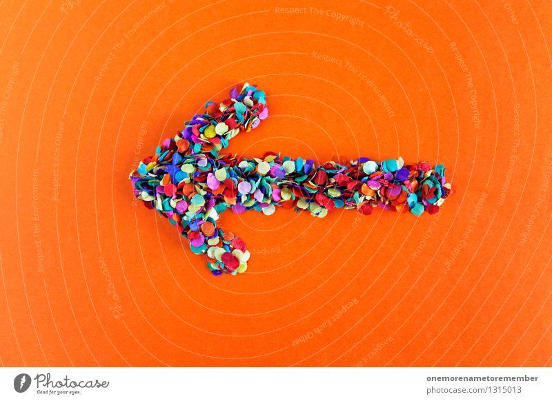 ...ach nee, links Kunst Kunstwerk ästhetisch Pfeil Pfeile Richtung richtungweisend Richtungswechsel Hinweis Konfetti viele Punkt rot orange Farbfoto mehrfarbig