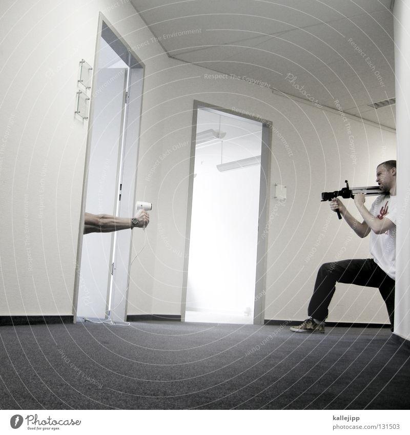 bürokratieabbau Mensch Mann Freude Arbeit & Erwerbstätigkeit Spielen Büro Aktion Pause Frieden Kriminalität gruselig Gewalt Dienstleistungsgewerbe