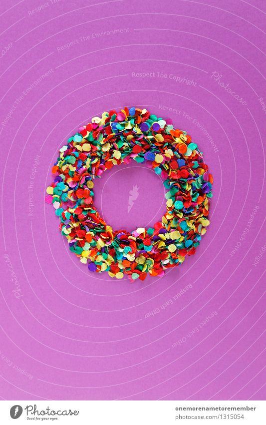 Also um da hin zu kommen... Kunst Kunstwerk ästhetisch Krapfen Kreis Kreativität Design Konfetti Kugel Designwerkstatt gestalten Rad rund violett gebastelt