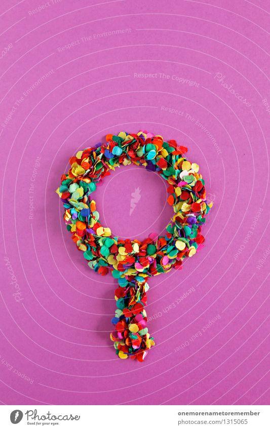 Einfach mit Lupe... Kunst Kunstwerk ästhetisch Sherlock Holmes Suche Spiegel Konfetti Strukturen & Formen gebastelt violett mehrfarbig Farbfoto Innenaufnahme