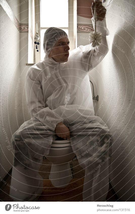 Toiletten.Kontrolle weiß Freude verrückt sitzen Sauberkeit rein Anzug untersuchen Bürste Bakterien Toilettenbürste