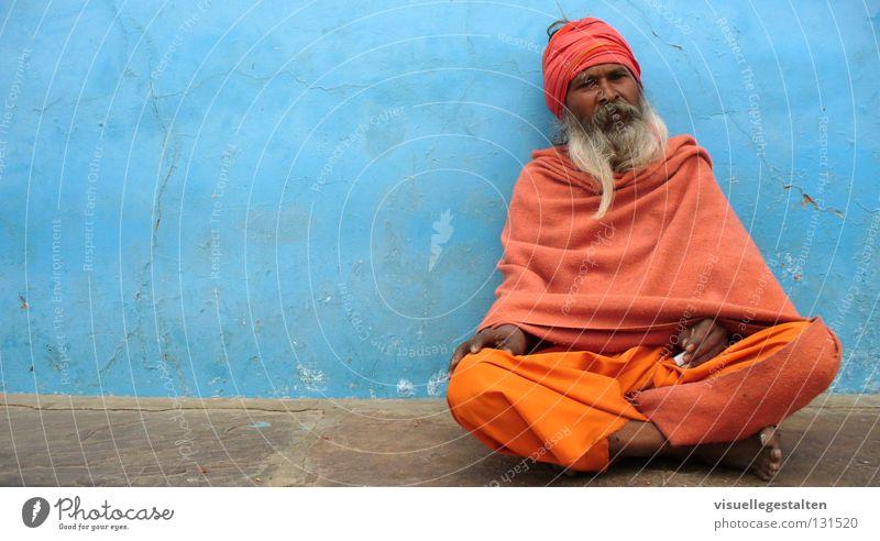 Indian Guru Wand Mauer Beton Bart Indien heilig Turban