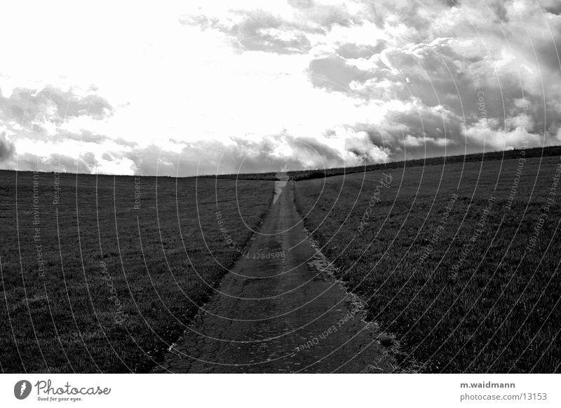 auf dem weg zum horizont 1 Wolken Straße Wiese Berge u. Gebirge Wege & Pfade Feld Horizont