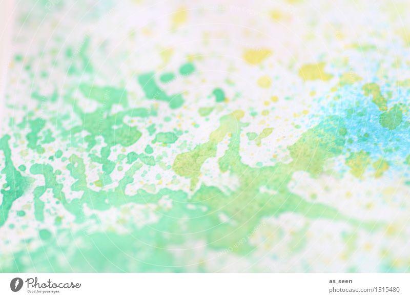 Türkisblaugelb Design Wellness Leben harmonisch Sinnesorgane Freizeit & Hobby Basteln malen malerisch Kunst Maler Gemälde Sommer Papier Pinsel Fröhlichkeit hell