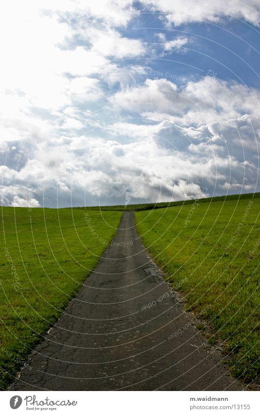 auf dem weg zum horizont 2 Feld Wiese Horizont Berge u. Gebirge Wege & Pfade Straße Himmel