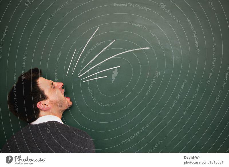 Ausraster Mensch Jugendliche Mann Junger Mann Erwachsene Leben Gefühle Kopf Business maskulin Student Wut schreien Tafel Karriere böse