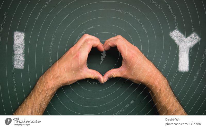 I <3 Y Mensch Mann Hand Erwachsene Leben Liebe Gefühle Glück Kunst Zusammensein maskulin elegant Fröhlichkeit Kreativität fantastisch Herz
