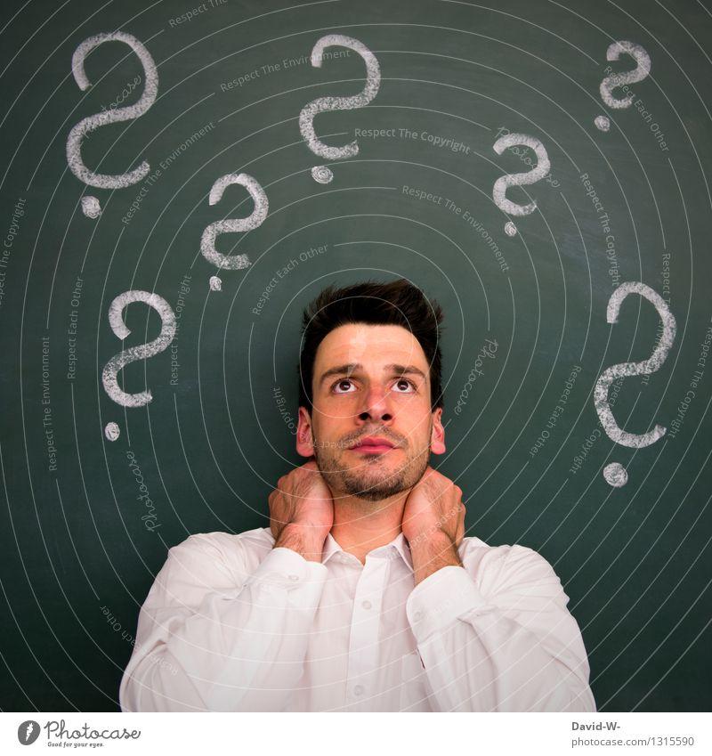 Fragen über Fragen Bildung Erwachsenenbildung lernen Tafel Berufsausbildung Student Business Mensch maskulin Junger Mann Jugendliche Leben Kopf Denken