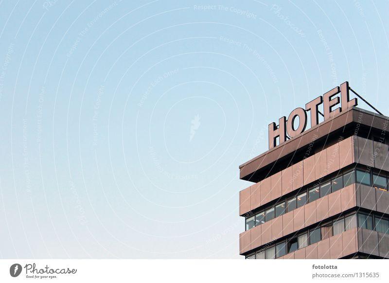 Hotel Gebäude Fassade Fenster blau braun grau orange Ferien & Urlaub & Reisen Geschäftsreise Hotelzimmer schlafen Übernachtung Häusliches Leben Haus