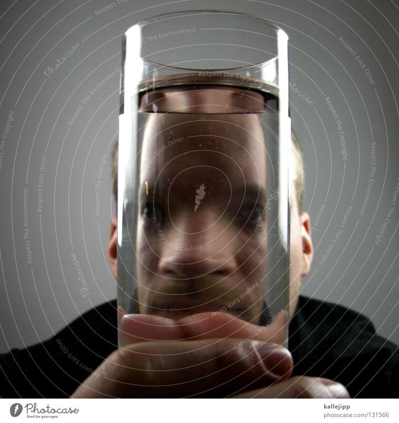 wasserkopp Mensch Mann Wasser Gesicht Mund Nase Lifestyle Getränk Suche Lippen Bart Seele Alkoholisiert Comic Witz