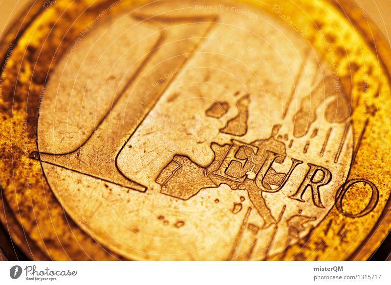 Ein Euro. Kunst ästhetisch Europa Europäer Eurozeichen Geld Krise Handel 1 Geldmünzen Zukunft Kapitalwirtschaft Kapitalismus Geldinstitut Wirtschaft