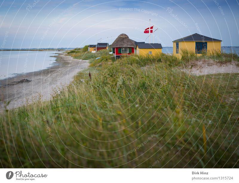 Strandhäuser in Marstal Ferien & Urlaub & Reisen blau grün Sommer Meer Ferne Gras Küste klein Freiheit Tourismus Sträucher Insel Schönes Wetter Seeufer
