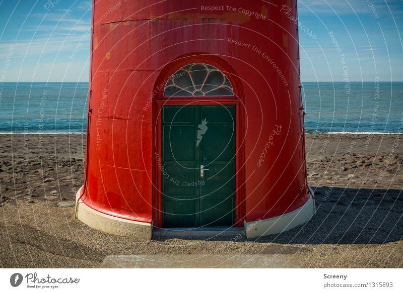 Erdgeschoss Himmel Ferien & Urlaub & Reisen blau grün Sommer Meer rot Landschaft Ferne Strand Fenster Küste braun Tourismus Tür Wellen