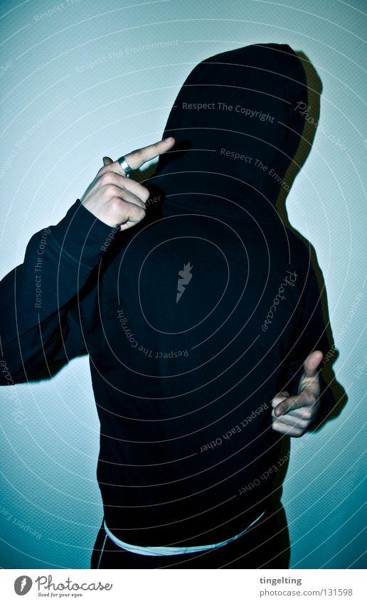 paeng paeng die zweite Mann Hand weiß blau Freude schwarz kalt maskulin Finger Maske Jacke Pullover Kapuze frontal bedecken Rock `n` Roll