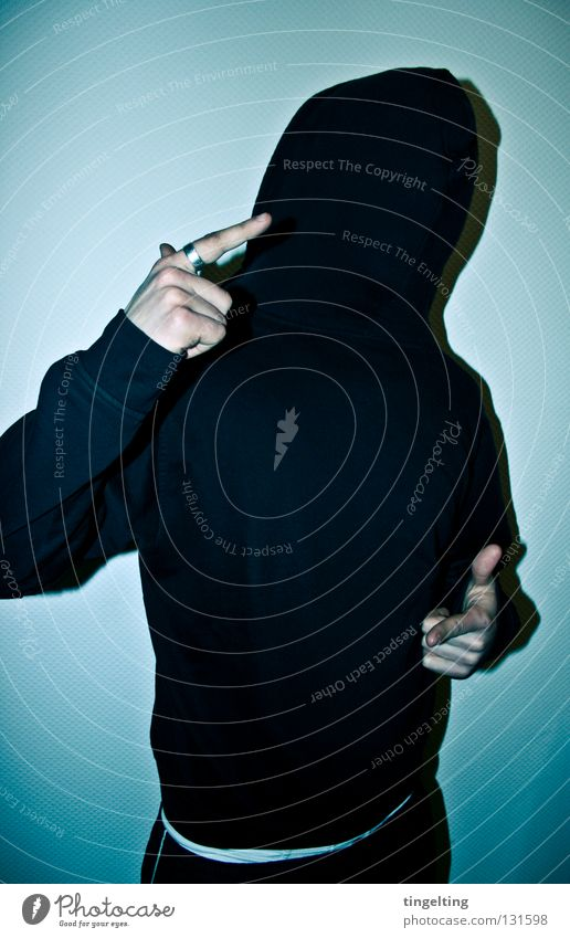 paeng paeng die zweite Pullover Kapuze Jacke schwarz weiß Hand Finger Mann maskulin Rock 'n' Roll frontal kalt Freude bedecken Maske blau petrol