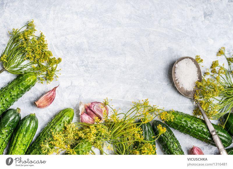 Gurken selber einlegen Natur Gesunde Ernährung Leben Stil Foodfotografie Hintergrundbild Garten Lebensmittel Design frisch Tisch Kräuter & Gewürze Küche Gemüse