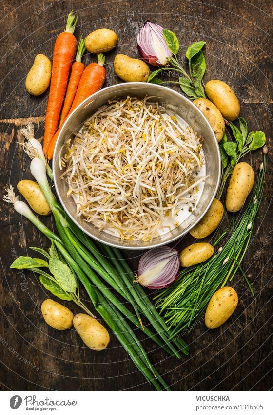 Sprossen im Sieb mit frischem Bio Gemüse Lebensmittel Getreide Ernährung Mittagessen Abendessen Bioprodukte Diät Stil Design Gesunde Ernährung Garten Tisch