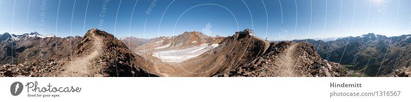Mondlandschaft Umwelt Natur Landschaft Urelemente Hügel Felsen Alpen Berge u. Gebirge Texelgruppe Ortler Gipfel Schneebedeckte Gipfel Gletscher Hütte Hotel