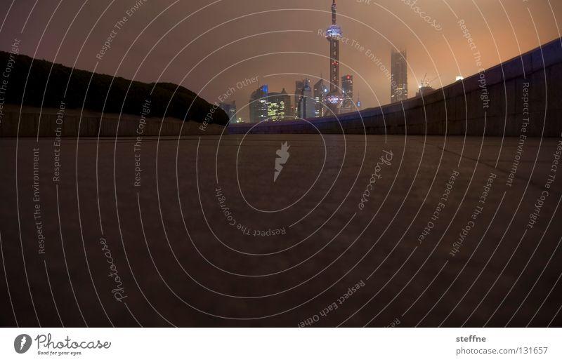 Pudong Stadt Skyline dunkel groß modern Shanghai China Pu Dong zett ist der Hexer Nacht Panorama (Aussicht)