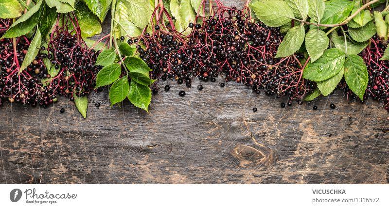Reife Holunderbeeren auf rustikalem Holztisch Natur Sommer Gesunde Ernährung Blatt Leben Herbst Stil Hintergrundbild Garten Lebensmittel Frucht Design Tisch