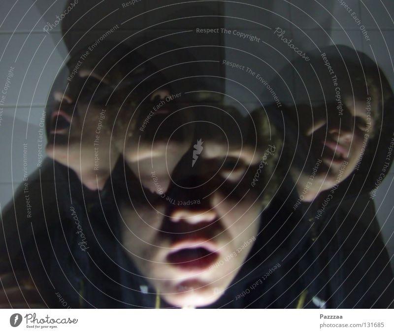Gespaltene Persönlichkeit Mensch Gesicht schwarz Angst Suche Geister u. Gespenster Fragen Panik seltsam Kapuze Krankheit Schizophrenie