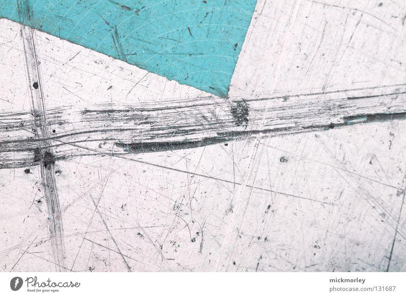 Tribute to Kandinsky abstrakt Streifen nah Rechteck Ecke Kratzer türkis Gemälde gebraucht Surrealismus Makroaufnahme Strukturen & Formen Farbe Bodenbelag Straße