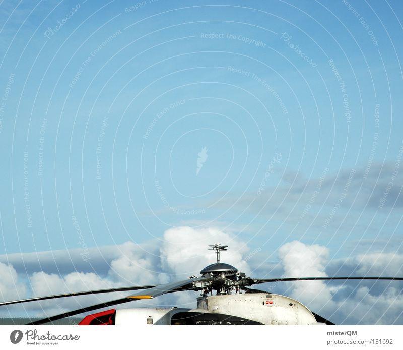Hubschrabschrab. Hubschrauber Rettungshubschrauber retten Propeller Maschine rot weiß Wolken hoch Kunst Rollfeld Flughafen Elektrisches Gerät