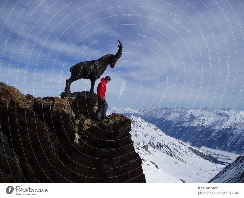 St. Moritz Piz Nair Himmel Natur rot Wolken Ferne Winter Berge u. Gebirge Schnee Felsen stehen groß Gipfel Schneebedeckte Gipfel Denkmal Schweiz