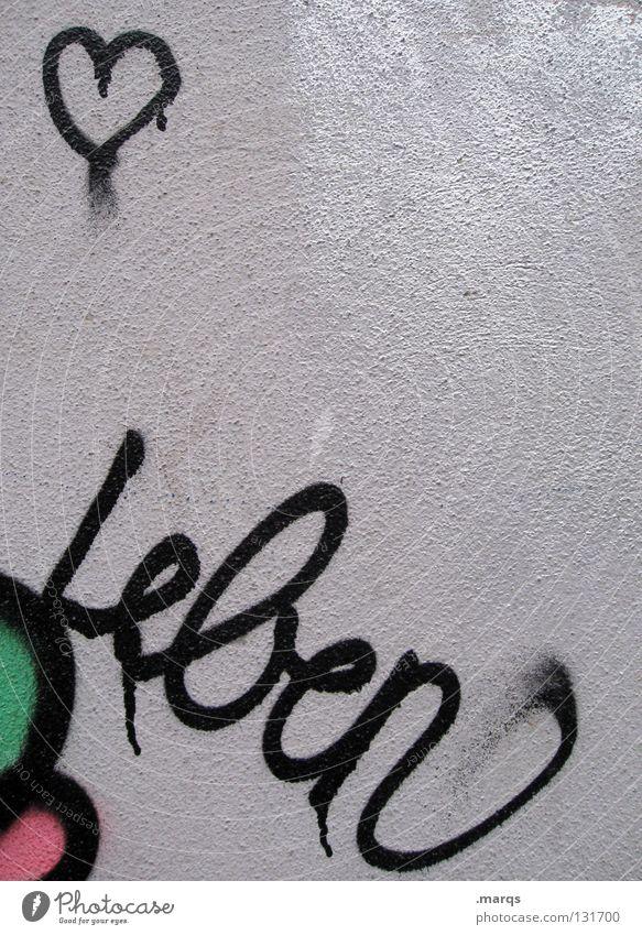 So ist das grün weiß rot schwarz Liebe Leben Gefühle Graffiti Glück Paar Kunst Zusammensein rosa dreckig Herz Schriftzeichen