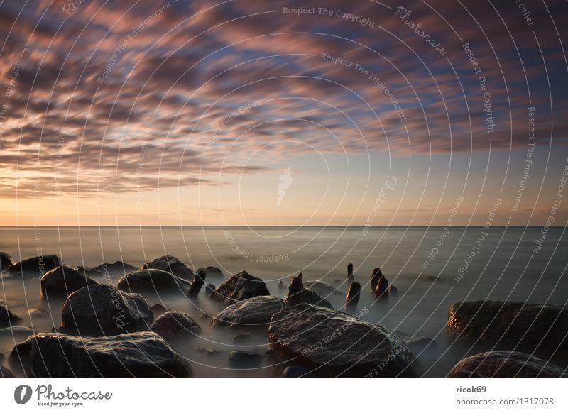 Ostseeküste Strand Natur Landschaft Wasser Wolken Küste Meer Stein Romantik Idylle Ferien & Urlaub & Reisen Tourismus Buhne Sonnenuntergang Himmel dramatisch