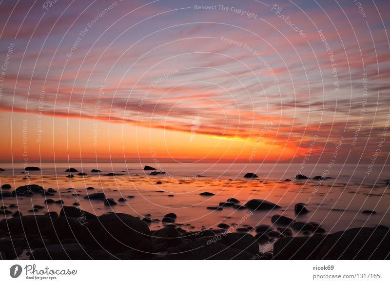 Ostseeküste Natur Landschaft Felsen Küste Meer Stein blau Romantik Idylle Ferien & Urlaub & Reisen Tourismus Sonnenuntergang Steinblock Himmel Rügen Lohme