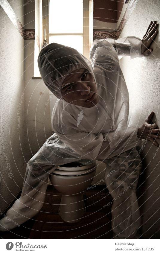 Toiletten.Spinne weiß Freude verrückt Anzug Reihe Kontrolle